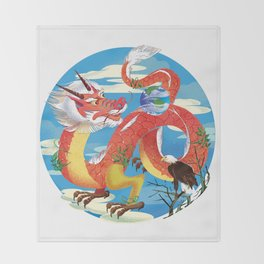 Red Dragon Throw Blanket