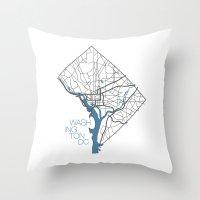 washington dc Throw Pillows featuring Washington, DC by linnydrez
