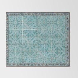 Victorian Turquoise Ceramic Tiles Throw Blanket