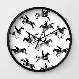 Watercolor Showjumping Horses (Black) Wall Clock
