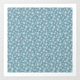 Christmas Icy Blue Velvet Snow Flakes Art Print