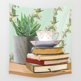 Tea and book love Wall Tapestry