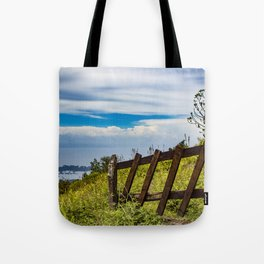 Wood Fence Lining a Meadow with Lake Views on Mombacho Volcano in Nicaragua Tote Bag