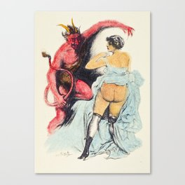 Devil Vintage hand colored nude woman red bum butt Canvas Print