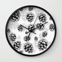 Conifer cone pattern - positive Wall Clock