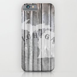 Michigan Map Home Rustic State Barn Wall Wood iPhone Case