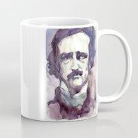 edgar allan poe Mugs featuring Edgar Allan Poe by Germania Marquez