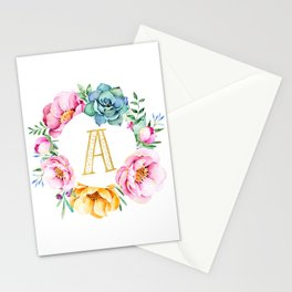 Floral Watercolour Typography Stationery Cards