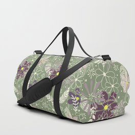 plum purple sage doodle feathers and flowers Duffle Bag