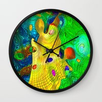 wizard Wall Clocks featuring The Wizard by Klara Acel