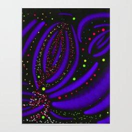 Purple Fireworks Display Poster
