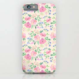 Pink watercolor flowers iPhone Case