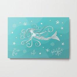 mermaid in blue water Metal Print