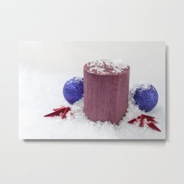 Christmas Candle Snow and Baubles Metal Print