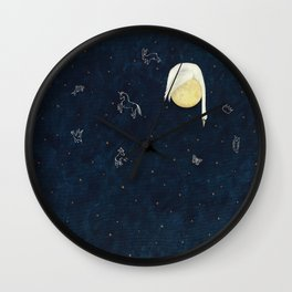 Sleeping on the Moon Wall Clock