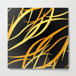 Pattern from colored intersecting flowing yellow lines in the nautical theme. Metal Print
