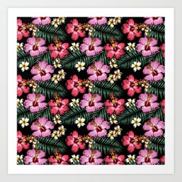 Summer Flowers Pug Art Print