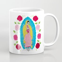 Skull Virgin of Guadalupe_ Hand embroidered Coffee Mug