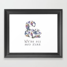 Alice floral designs - Cheshire cat all mad here Framed Art Print