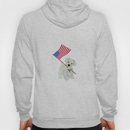 Original Paper Cutting of Westie With American Flag Hoody