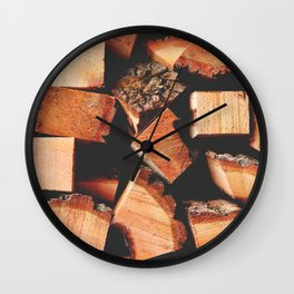 Wood Logging Wall Clock