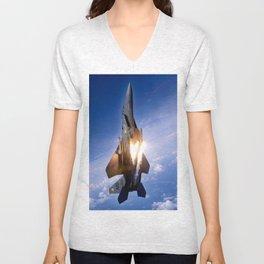 f-15 jet launching missile Unisex V-Neck
