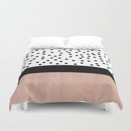 Pink marble and dots Duvet Cover
