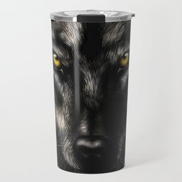 hand-drawing portrait of a black wolf on a black background Travel Mug