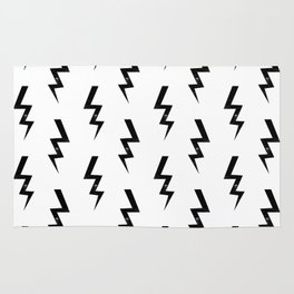Bolts lightning bolt pattern black and white minimal cute patterned gifts Rug