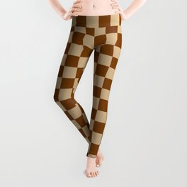 Tan Brown and Chocolate Brown Checkerboard Leggings