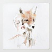 fox Canvas Prints featuring fox by Jen Mann