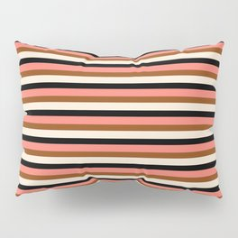 Salmon, Brown, Beige & Black Colored Striped/Lined Pattern Pillow Sham