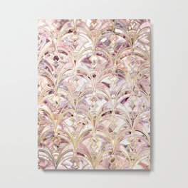 Dusty Rose and Coral Art Deco Marbling Pattern Metal Print