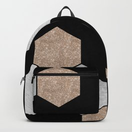 Geometric marble and rose gold on black Backpack