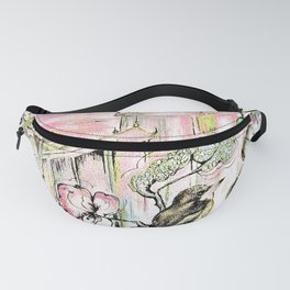 ORIENTAL ASIAN PAGODA DESIGN , CHINA JAPAN PRINT Fanny Pack