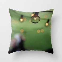 Incandescent Lights string an evening summer party. Throw Pillow