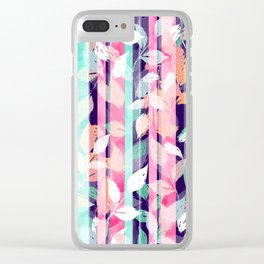 Cute Violet foliage brush paint design Clear iPhone Case