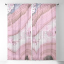 Glamorous Pink Agate Sheer Curtain