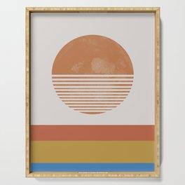 Sunshine, Modern Abstract Landscape, Sun Serving Tray