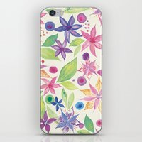 leah flores iPhone & iPod Skins featuring Flores by JuanaViEs