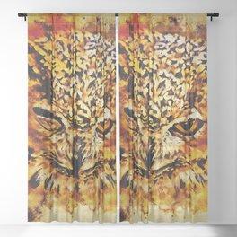 owl winking splatter watercolor Sheer Curtain