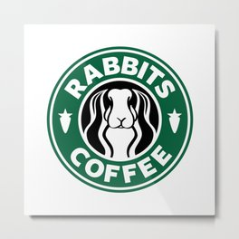 RABBITS COFFEE Metal Print