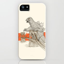 Godzilla vs. the Brooklyn Bridge iPhone Case