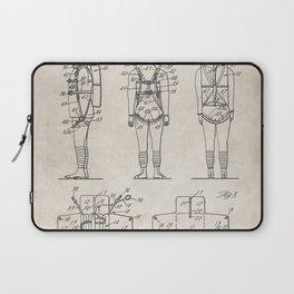 Parachute Pack Patent - Sky Diving Art - Antique Laptop Sleeve