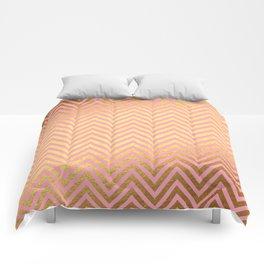 Chevron Herringbone pattern rosegold - gold metal glitter on pink watercolor Comforters