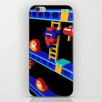 donkey kong iPhone & iPod Skins featuring Inside Donkey Kong stage 4 by Metin Seven