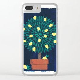 Lemon Topiary potted plant gouache painting design Clear iPhone Case