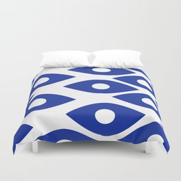 Blue and White Pattern Fish Eye Design Duvet Cover