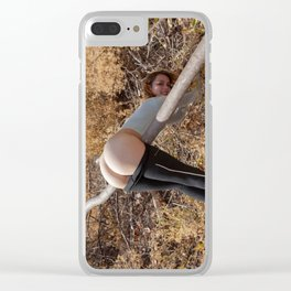 Bare in the Woods. A young Lady exposing her full backside to nature Clear iPhone Case