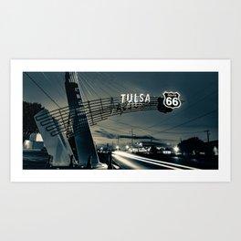 Tulsa Oklahoma Route 66 Western Gateway Arch Panorama in Sepia Art Print